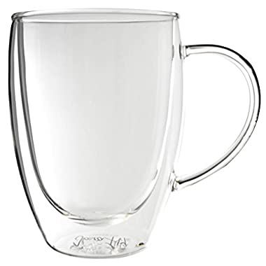 Bistro Mug with Handle from JavaFly, Double Walled Thermo Glass Cup, Set of 4 - 12oz