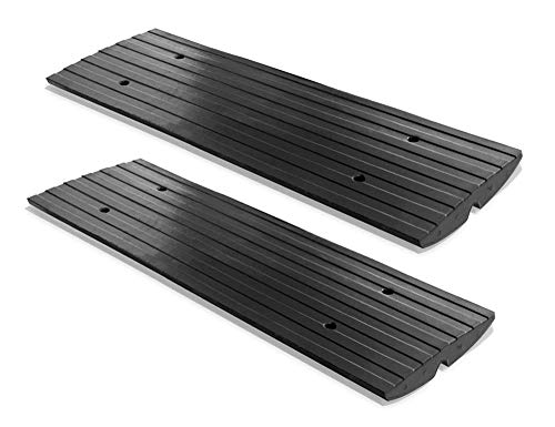 PYLE PCRBDR21 Car Vehicle Curbside Driveway Ramp - 4ft Heavy Duty Rubber Threshold Bridge Tracks Curb Ramps, 2 Pieces (for Car, Truck, Scooter, Bike, Motorcycle, Wheelchair Mobility) - Pyle PCRBDR21