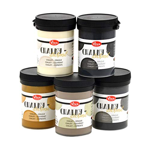 Viva Decor® Chalky Deckend 5er Set (Klassisch: Weiß, Karamell, Natur, Grau, Anthrazit, 5 x 100 ml) Vintage Kreidefarbe für Shabby Chic - Chalk Paint für Innen und Außen - Made in Germany