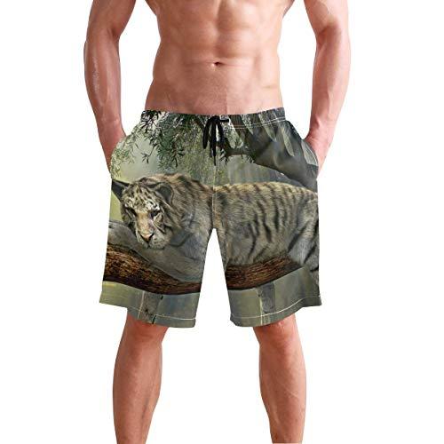 Bañador de Playa para Hombre, bañador de Tigre, Animal, Jungla, Bosque Tropical, Mundo exótico, bañador Tipo bóxer, Ropa Interior, Pantalones Cortos con Bolsillo, Talla M ⭐