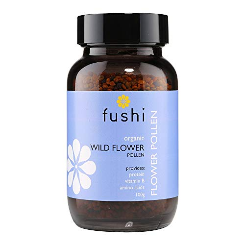 Fushi Organic Wild Flower Bee Pollen 100g | Cold Processed |Rich in Vitamin A, B, C, D, E, Proteins, 27 minerals & 22 Amino Acids | Antioxidant | Ethical & Vegan | Manufactured in the UK
