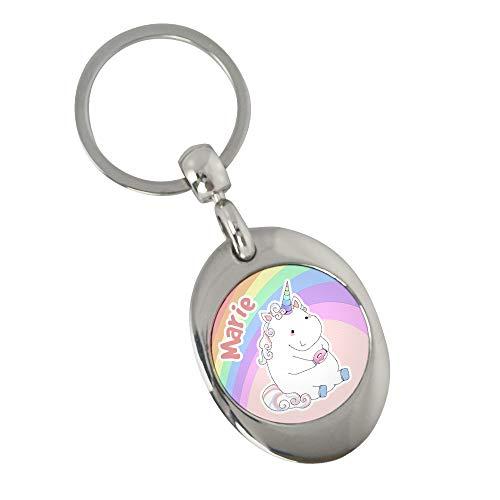 Schlüsselanhänger mit Namen Marie und Einhorn-Motiv in Pastell-Farben | Namens-Anhänger mit Einkaufs-Chip für Kinder und Erwachsene