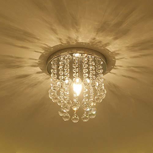 LED-runde Kristalldeckenleuchte, einfache Wohnzimmer-hängende Lampe Balkon-Portal-Korridor-Gang-Deckenleuchte-Kristallleuchter-25cm-E12