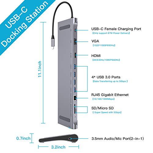 GIKERSY USB C Hub USB C Docking Station Adapter mit VGA,HDMI 4K,Ethernet,4 USB 3.0, Type C PD,MicroSD/SD Kartenleser,3.5mm Mic/Audio kompatibel für MacBook Pro 2018/2017/2016 und Mehr Type-C Geräte