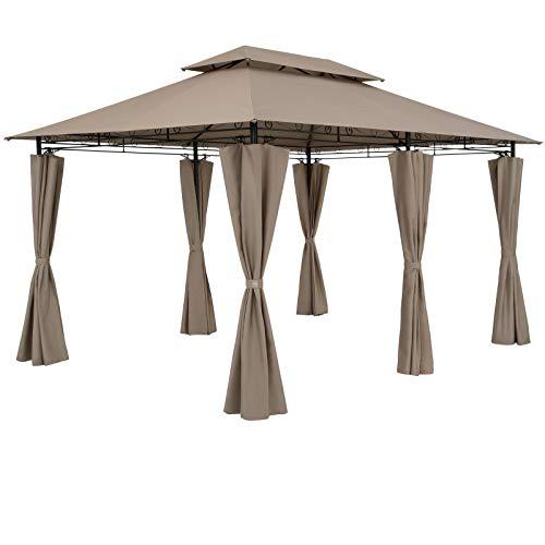Casaria Cenador Topas Arena 4x3m Pabellón con Protección UV 50+ Repelente al Agua Carpa de jardín