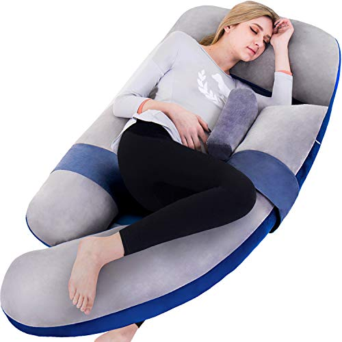 AS AWESLING 60in Full Body Pillow | Nursing, Maternity and Pregnancy Body Pillow | Awesling Extra Large U Shape Pillow with Detachable Side, Separate Support Pillow and Removable Cover (Grey Blue)