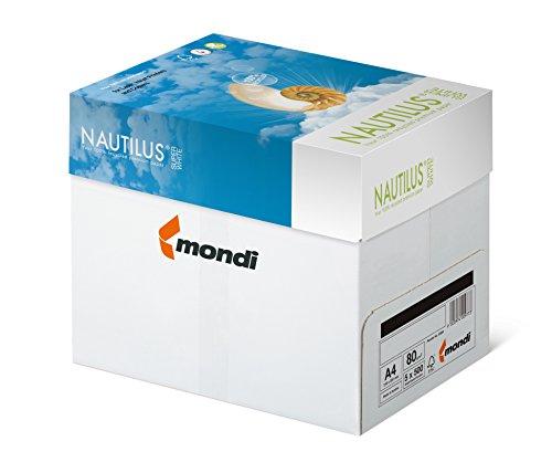 Mondi 88020366 Recycling-Papier premium, Druckerpapier Nautilus Superwhite 80 g/m² A4, 5x500 Blatt, matt, ungestrichen, hochweiß