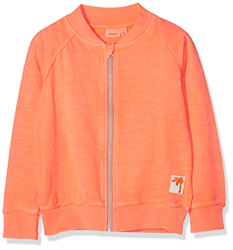 NAME IT Baby-Mädchen NMMDESTON SWE Card UNB Sweatjacke, Shocking Orange, 92