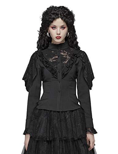 Punk Rave Damen Gothic Laternenärmel Big V Hollow-Out Spitze Brust Schwarzes Hemd Viktorianische Sexy Party Bluse M