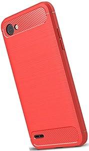 XINFENGDILG Q6 Funda, TPU Slim Silicona Case Cover [Anti-arañazos] Funda para Smartphone LG Q6 - Rojo