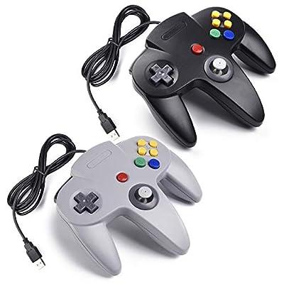 2x Retro 64-bit N64 USB Controller Gamepad Joystick, iNNEXT Classic Wired N64 USB PC Game Controllers for Windows Mac Raspberry