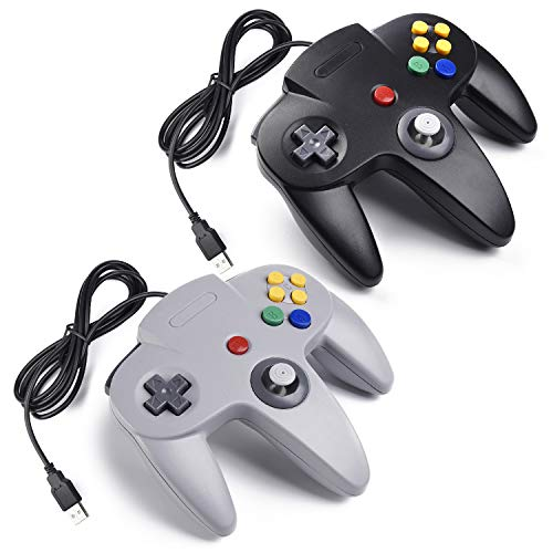 miadore 2X USB N64 Bit 64 Controller Joystick Gamepad für Windows PC Mac Raspberry pi3 Retro Pie (Grau/Schwarz)