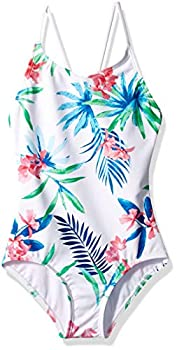 Kanu Surf Girls  Big Daisy Beach Sport 1-Piece Swimsuit Leonie Floral White 10