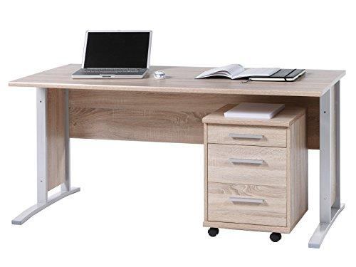 möbelando Schreibtisch Arbeitstisch Bürotisch Computertisch Laptoptisch Büro Clermont I Sonoma-Eiche