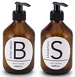 Lifestyle Lover 2er Pack Seifenspender aus Braunglas, Bernsteinfarben Body Wash 300ml und Shampoo...