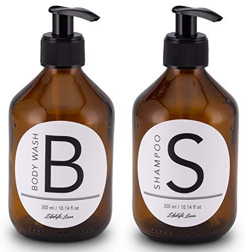 Lifestyle Lover 2er Pack Seifenspender aus Braunglas, Bernsteinfarben Body Wash 300ml und Shampoo 300ml