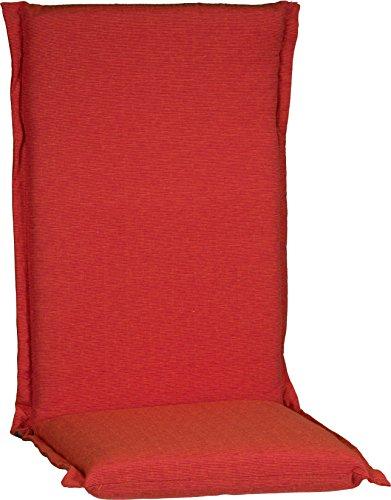 Beo HL Zip zitkussen tuinstoelkussen met hoge rugleuning serie Ascot met ritssluiting P215, oranje, 120 cm x 52 cm x dikte ca. 8 cm.