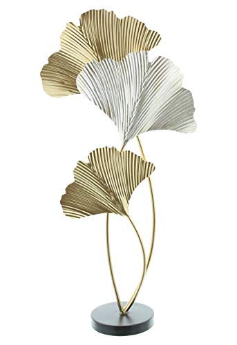 khevga Figura decorativa de hojas de metal, escultura de oro, plata y cobre (60 cm de alto)