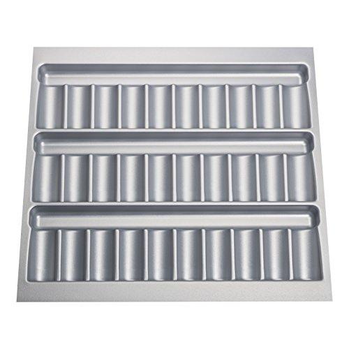 Orga-Box® Gewürzgläsereinsatz Gewürzdoseneinsatz / 513 x 28 x 473 mm/Silber-metallic für 60er Korpusbreite/passend für Blum Tandembox