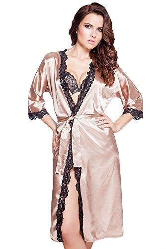 VA-Fashion Edler Morgenmantel Kimono aus Satin Hellbraun lang Größe XXL