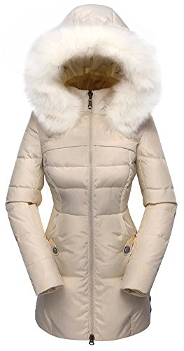 Valuker Women's Down Coat With Fur Hood 90D Parka Puffer Jacket 57-Beige-XXS