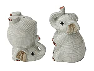 Creative Co-op Hand Painted Elephants Salt and Pepper Shakers