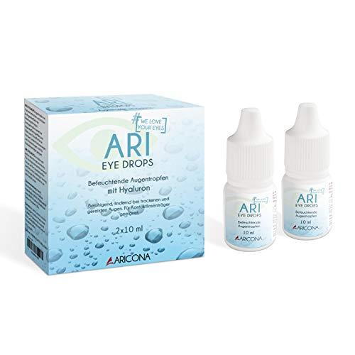 ARI EYE DROPS Augentropfen - 2 x 10ml Hyaluron Augentropfen gegen trockene Augen - feuchtigkeitsspendend und beruhigend - 2er Pack
