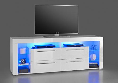 lifestyle4living Lowboard, TV-Schrank, TV-Board, Fernsehschrank, TV-Sideboard, TV-Unterschrank, TV-Kommode, Hochglanz, LED-Beleuchtung, weiß, Maße: 179/66/44 cm