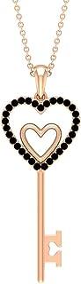 قلادة 1/4 قيراط على شكل قلب مزدوج مع عقيق أسود (جودة AAA)