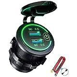 Runtodo QC 3.0 Dual USB cargador zócalo, impermeable 12V/24V USB con interruptor táctil para coche, barco, RV, motocicleta, verde
