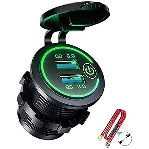 Baalaa QC 3.0 Dual USB cargador zócalo, impermeable 12V/24V USB con interruptor táctil para coche, barco, RV, motocicleta, verde