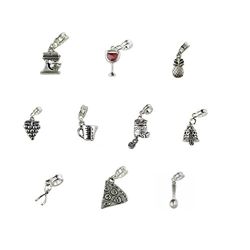 Set of 10 Baking Cooking Charms and Beads Includes Measuring Cup, Pizza Charm, Beater Charm, Spoon Charm, Cookie Jar Charm & Dinner Bell