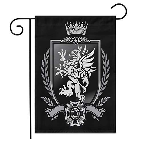 Adowyee 28'x 40' Garden Flag Family Griffin Crest Eagle Lion Seal Shield Crown Medieval Outdoor Double Sided Decorative House Yard Flags