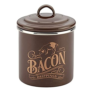 Ayesha Curry Home Collection Enamel on Steel Bacon Grease Can, 4-Inch by 4-Inch, Brown Sugar