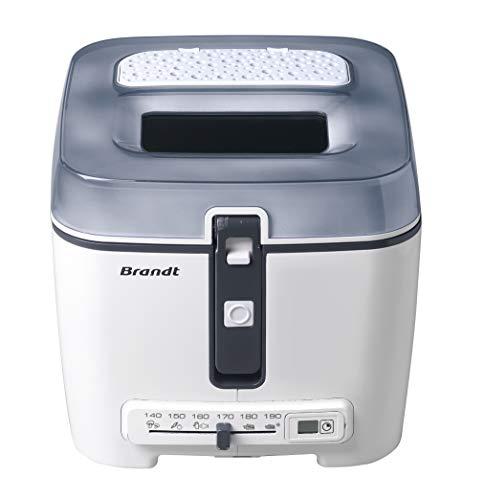 Brandt FRI2515EG - Friteuse classique - Minuterie électronique avec écran LCD - Cuve amovible et filtre anti-graisse métallique - Capacité de la cuve 2,5 L/capacité du panier 1,2 kg - Blanche et grise