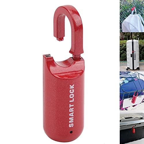 Candado sin llave, cerradura biométrica antirrobo de aleación de zinc con huella dactilar recargable USB con cable de datos USB para equipaje para gimnasio(red, Pisa Leaning Tower Type)