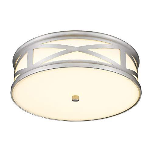 CALDION 12 Inch LED Flush Mount Ceiling Light, 16W 1100 Lumens, 3000K/4000K/5000K Adjustable, Brushed Nickel Finish, Dimmable Ceiling Light Fixture for Kitchen Hallway Bedroom Laundry, 6873LFM-BN