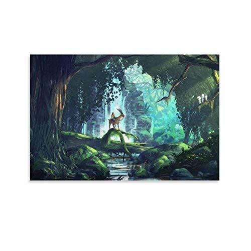 5 Poster auf Leinwand, Motiv: Prinzessin Mononoke, Heimdekoration, japanische Anime-Poster für Wohnzimmer, Wand-Ästhetik, 30 x 45 cm