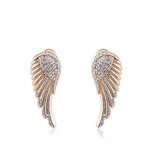 swall owuk Mujer Elegante Pendientes Pendientes Alas de Ángel EarDrops cristales pendientes