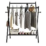 HJYPZJ Perchero Burro,estante de secado plegable para balcón,perchero de almacenamiento de doble polo para uso en interiores y exteriores/Black / 60x53x147cm