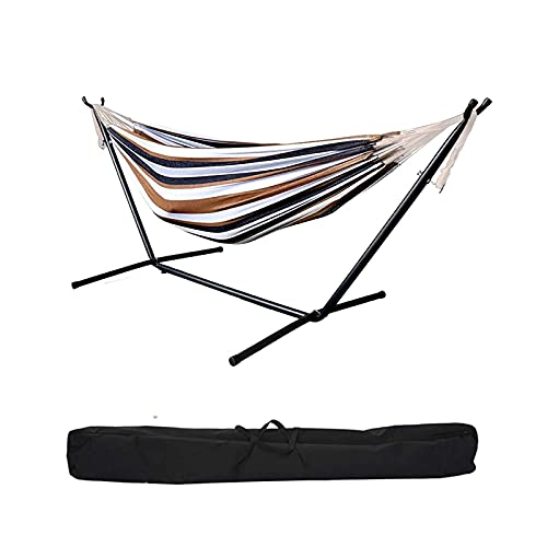 Double Hammock with Steel Stand for 2 People,8.5ft Camping Hammock with Portable Carrying Bag,Cotton Hammock for Backyard,Summer Cooling Hammock,Easy to Install, 2-5 Days Arrival (A)