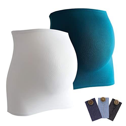 Bandeau de grossesse Mamaband pour le petit ventre de la femme enceinte en lot de deux + 3 extensions en jean – chauffe-dos et extension de t-shirt pour femmes enceintes – Mode de maternité extensible