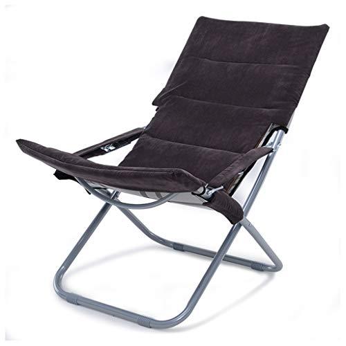Deckchairs Sessel, Stühle & Strandkörbe Wohnzimmer Klappsessel Büroschlaf Stuhl Balkon Lehner Freizeit im Freien Strand Sonnenliege, 5-Gang-Einstellung (Color : Brown, Size : 53 * 65 * 80cm)