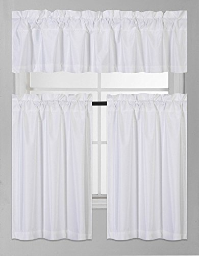 Elegant Home Collection 3 Piece Solid Color Faux Silk Blackout Kitchen Window Curtain Set with Tiers and Valance Solid Color Lined Thermal Blackout Drape Window Treatment Set #K3 (White)