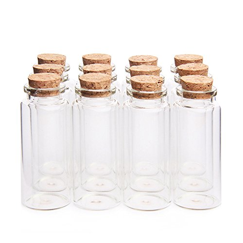 Danmu 30ml 1.18' x 2.75' Mini Glass Bottles, Jars with Wood Cork Stoppers, Tiny Glass Jars, Wishing Bottles, Message Bottle for Wedding Favors, Halloween Decorations, Baby Shower Favors, DIY Craft (12Pcs)