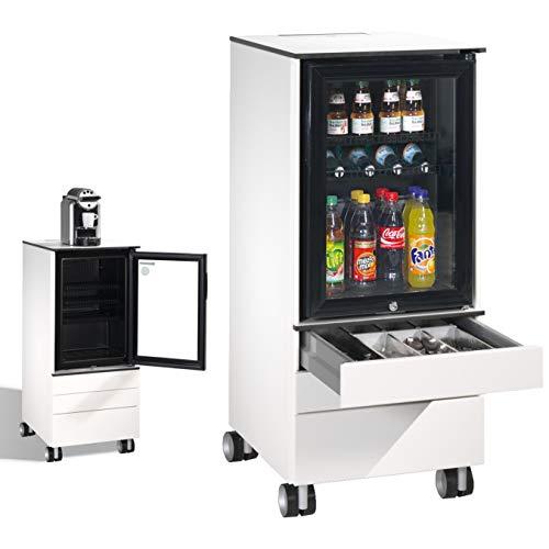 CP Asisto Caddy - Mini nevera con ruedas para bebidas, tazas, vasos, platos y cubiertos, color blanco 62 Liter Blanco puro (Ral 9010).