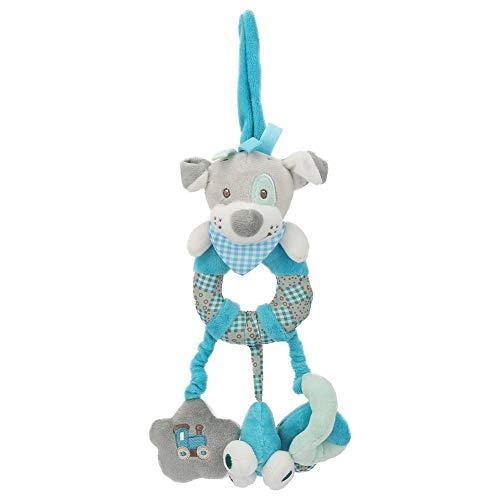 Bebé Cuna Colgante Juguete Cochecito de animal de dibujos animados Muñecas de decoración Sonajeros BB recién nacidos Juguetes para bebés pequeños(Perro azul)