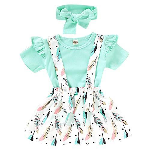Baby Mädchen Kleid Outfit, Baby Mädchen Kleidung Set Kurzarm T-Shirt Tops Strapse Rock + Feder Hosenträger Rock + Stirnband Set 3 Stück Kleinkind Mädchen Rock Set