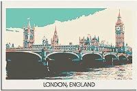絵画 インテリアロンドンイングランドヴィンテージ旅行ポスター装飾絵画インテリアポスターモダンオフィスキャンバスアートパネルポスター装飾50x70cm x1 フレームレス