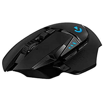 Logitech G502 LIGHTSPEED Wireless Gaming Mouse, HERO 16K Sensor, 16,000 DPI, RGB, Adjustable Weights, 11 Programmable Buttons, Long Battery Life, On-Board Memory, PC / Mac - Black